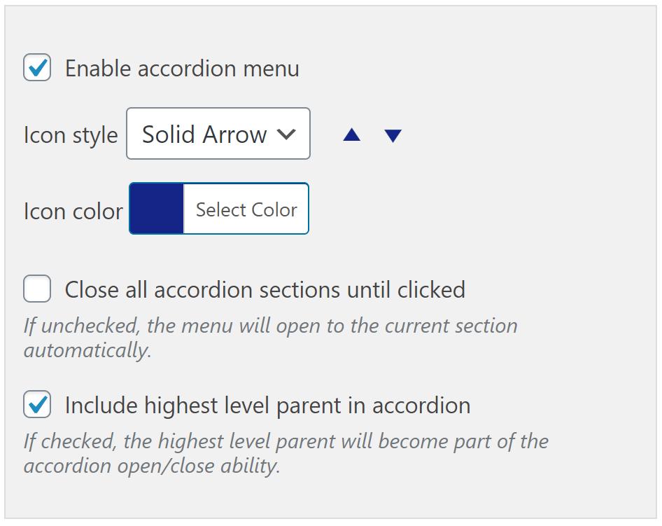 Advanced Sidebar Menu PRO - Accordion Widget Settings